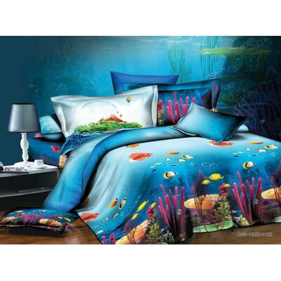Coral 3D 4 Piece Sheet Set Size: King
