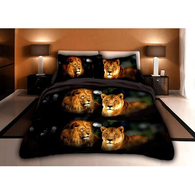 Lion 3D 4 Piece Sheet Set Size: King