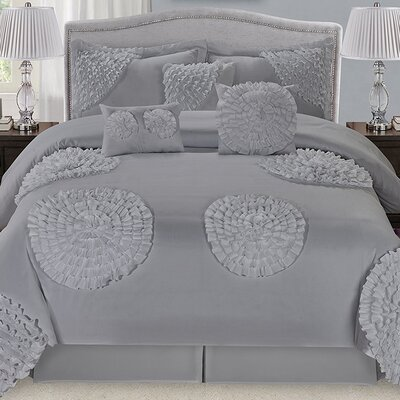 Avaloon Ruffled Flowers 7 Piece Comforter Set Color: Gray, Size: Queen