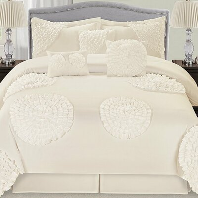 Avaloon Ruffled Flowers 7 Piece Comforter Set Color: Ivory, Size: Queen