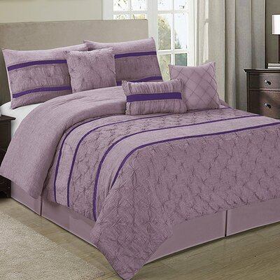 Glori Embroideried Striped 7 Piece Comforter Set Color: Purple, Size: Queen