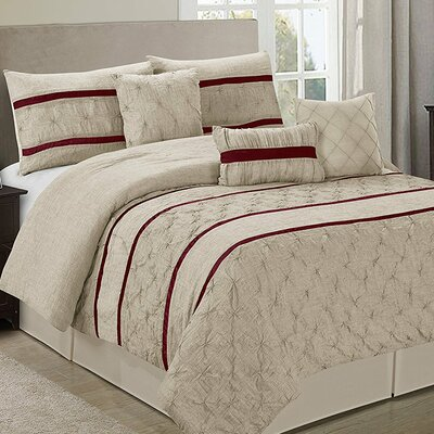 Glori Embroideried Striped 7 Piece Comforter Set Color: Taupe, Size: King