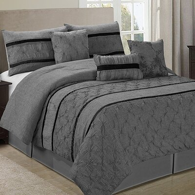 Glori Embroideried Striped 7 Piece Comforter Set Color: Gray, Size: King