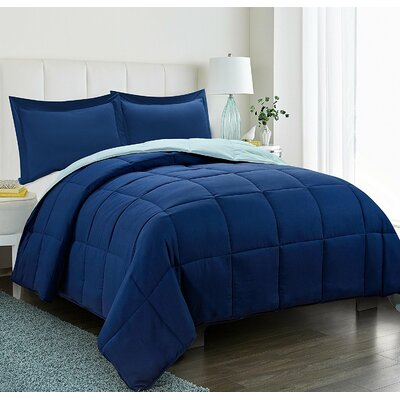 Southmont 3 Piece Comforter Set Color: Navy, Size: King