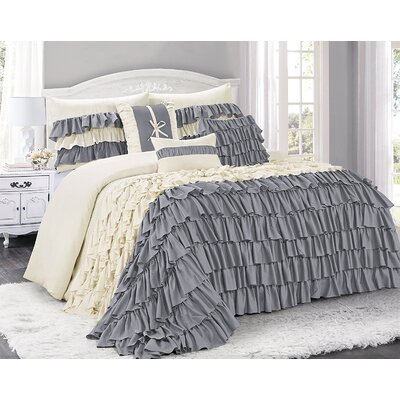 Appleton 7 Piece Comforter Set Color: Gray/Ivory, Size: Queen