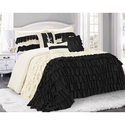 Appleton 7 Piece Comforter Set Color: Black/Ivory, Size: Queen