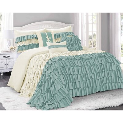 Appleton 7 Piece Comforter Set Color: Blue/Ivory, Size: Queen