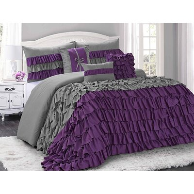 Appleton 7 Piece Comforter Set Size: King, Color: Purple/Gray