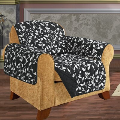 Leaf Chair Furniture Protector Microfiber Armchair Slipcover Upholstery: Black
