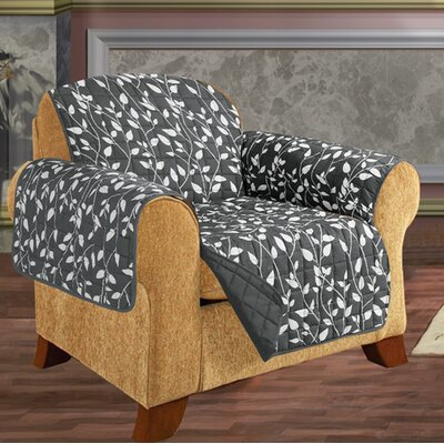 Leaf Chair Furniture Protector Microfiber Armchair Slipcover Upholstery: Gray