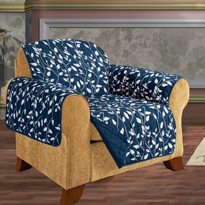 Leaf Chair Furniture Protector Microfiber Armchair Slipcover Upholstery: Navy Blue
