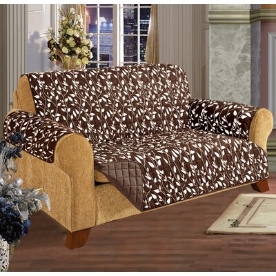 Leaf Sofa Furniture Protector Microfiber Sofa Slipcover Upholstery: Chocolate