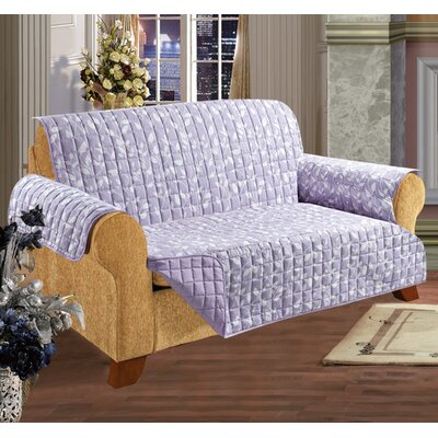 Box Cushion Sofa Slipcover Upholstery: Lilac