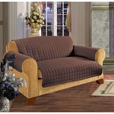 Furniture Protector Box Cushion Loveseat Slipcover Upholstery: Chocolate