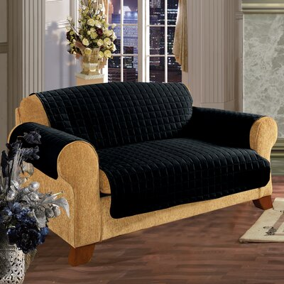 Furniture Protector Microfiber Loveseat Slipcover Upholstery: Black