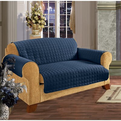 Furniture Protector Box Cushion Loveseat Slipcover Upholstery: Navy Blue