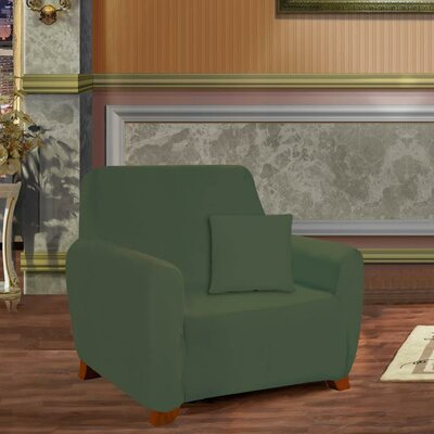 Box Cushion Armchair Slipcover Upholstery: Green