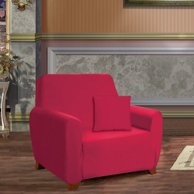 Box Cushion Armchair Slipcover Upholstery: Ruby