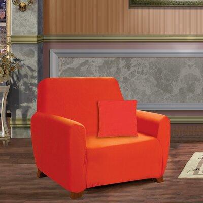 Box Cushion Armchair Slipcover Upholstery: Orange