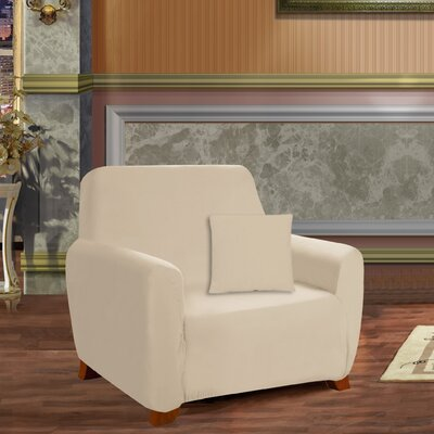 Box Cushion Armchair Slipcover Upholstery: Cream