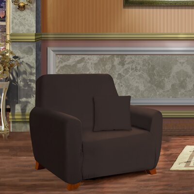 Armchair Box Cushion Slipcover Upholstery: Brown
