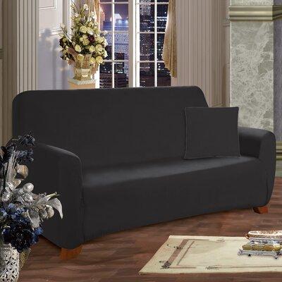 Sofa Box Cushion Slipcover Upholstery: Black