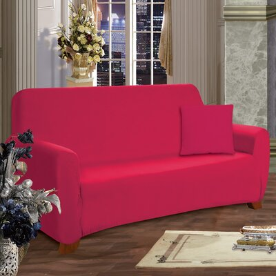Loveseat Box Cushion Slipcover Upholstery: Ruby