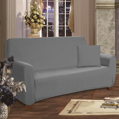 Loveseat Box Cushion Slipcover Upholstery: Gray