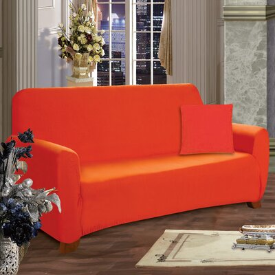 Box Cushion Sofa Slipcover Upholstery: Orange