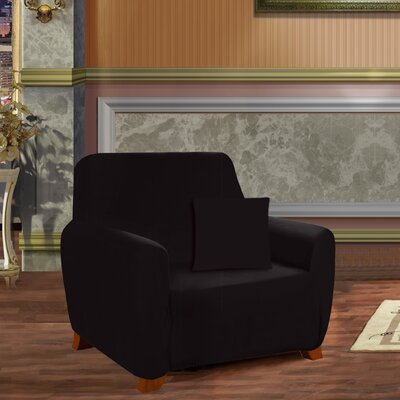 Box Cushion Armchair Slipcover Upholstery: Black