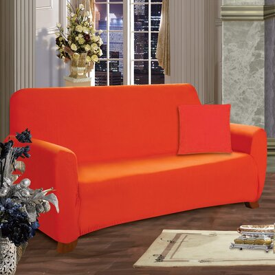 Loveseat Box Cushion Slipcover Upholstery: Orange