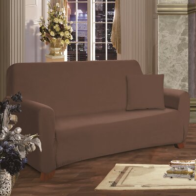 Box Cushion Loveseat Slipcover Upholstery: Brown