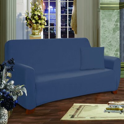 Loveseat Box Cushion Slipcover Upholstery: Navy