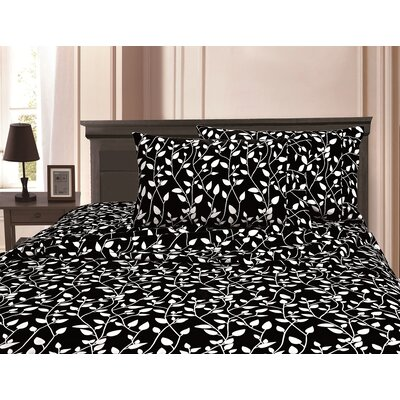 3 Piece Full/Double Duvet Cover Set Color: Black, Size: King/California King