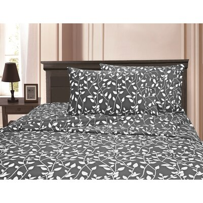 3 Piece Full/Double Duvet Cover Set Color: Gray, Size: Full/Queen