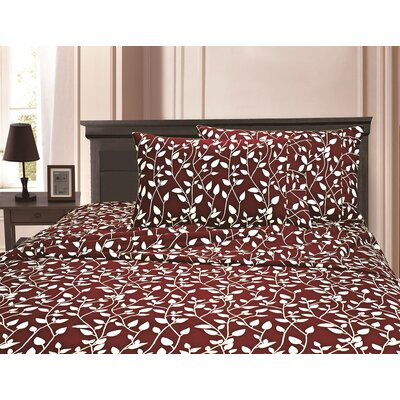 3 Piece Full/Double Duvet Cover Set Color: Burgundy, Size: Full/Queen