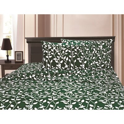 3 Piece Full/Double Duvet Cover Set Color: Green, Size: Full/Queen