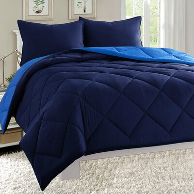 3 Piece Reversible Comforter Set Size: Full/Queen, Color: Navy/Patriot