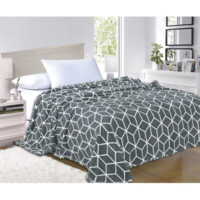 All Season Super Plush Luxury Printed Fleece Blanket Color: Gray, Size: King/California King