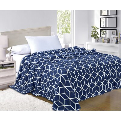 All Season Super Plush Luxury Printed Fleece Blanket Color: Navy, Size: Full/Queen