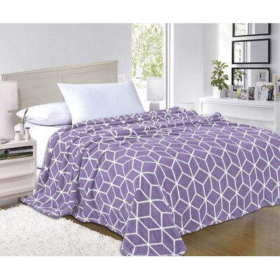 All Season Super Plush Luxury Printed Fleece Blanket Color: Lilac, Size: King/California King