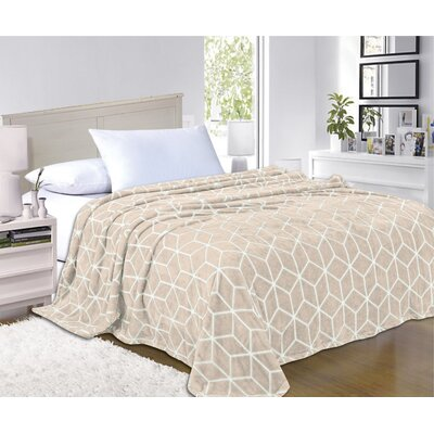 All Season Super Plush Luxury Printed Fleece Blanket Color: Beige, Size: King/California King