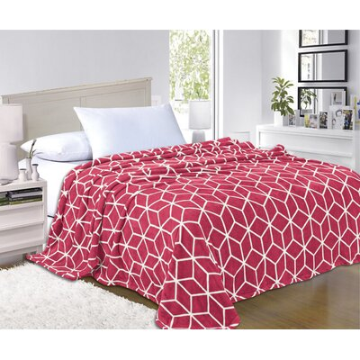 All Season Super Plush Luxury Printed Fleece Blanket Color: Red, Size: Full/Queen