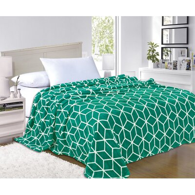 All Season Super Plush Luxury Printed Fleece Blanket Color: Green, Size: Full/Queen