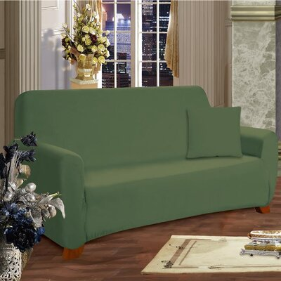 Box Cushion Loveseat Slipcover Upholstery: Green