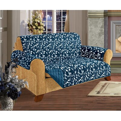 Leaf Furniture Protector Microfiber Loveseat Slipcover Upholstery: Navy Blue