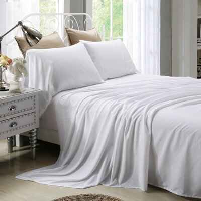 4 Piece Sheet Set Size: Full, Color: White