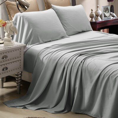 4 Piece Sheet Set Size: Full, Color: Silver Gray
