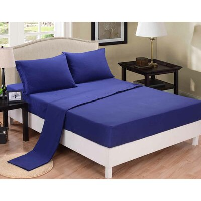 3 Piece Sheet Set Color: Navy Blue, Size: Twin