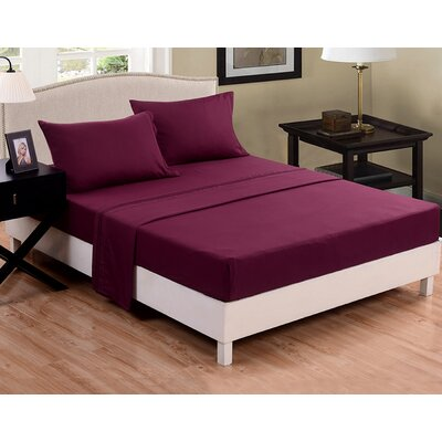 3 Piece Sheet Set Color: Purple Eggplant, Size: Full